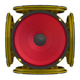 Round audio speakers arranged in the shape of a cube Stock Images