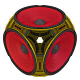 Round audio speakers arranged in the shape of a cube Royalty Free Stock Images