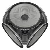 Round audio speakers arranged in the shape of a cube. Isolated. 3D Illustration royalty free illustration