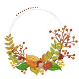 Round autumn frame illustration with leaf, branch, berry. Round autumn frame illustration, with dot decoration, including leaf, berry, branch, in fall season Royalty Free Stock Images