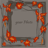 Round autumn frame with yellow, orange leaves and twigs maple, butterfly. Contains space for your text, photo Royalty Free Stock Photos
