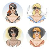 Round avatars of different women in sunglasses and summer clothes stock illustration