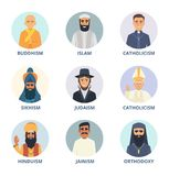 Round avatars set with pictures of religion leaders. Religion sikhism and judaism, buddhism and orthodoxy. Vecto illustration Royalty Free Stock Image