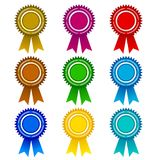 Round award labels collection of different colors isolated on white. Central empty area is for customer`s information stock illustration