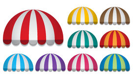 Round awnings. Set of strip colorful rounded awnings Stock Image