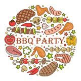 Round background for a barbecue. Barbecue poster. BBQ party template frame with hand drawn meat, chicken, fish, sausage and tools. Vector hand drawn sketch Royalty Free Stock Photography