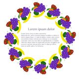Round background with colored painting fruits, Lorem ipsum Stock Photos