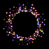 Round background with colorful lights. Black round Christmas background with colorful lights. Vector illustration Royalty Free Stock Images