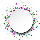Round background with confetti. Stock Photo