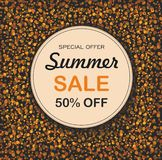 Round background with dots on black background. Summer sale. stock illustration