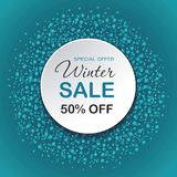 Round background with dots on blue background. Winter sale. royalty free illustration