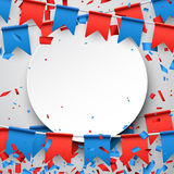 Round background with flags. Round background with garlands of red and blue flags. Vector illustration Royalty Free Stock Images