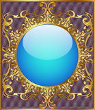 Round background frame with gold ornamentation Royalty Free Stock Photos