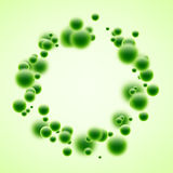 Round background with green bubbles. Round abstract background with green 3d bubbles. Vector illustration Stock Image