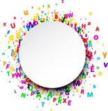 Round background with letters. White paper round background with color letters. Vector illustration Stock Image
