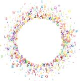 Round background with letters. White paper round background with letters. Vector illustration Stock Photography