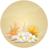 Round background with pebbles, starfishes and flowers Stock Photography