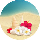 Round background with pebbles and tropical flowers Royalty Free Stock Images