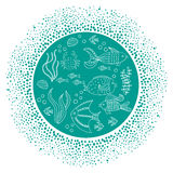 Round background with sea fishes and dots frame. Royalty Free Stock Photography