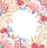 Round background template made of pink and red roses Stock Photo