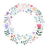 Round background for text with decorative images of flowers, plants, leaves and small circles. Stock Photos