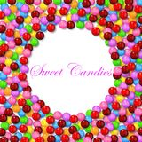 Round background with various sweet candy on frame. Illustration of Round background with various sweet candy on frame Royalty Free Stock Photography