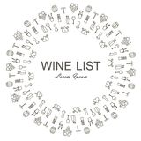 Round background for Wine list, Lorem Ipsum. Monochrome bottles, grapes, corkscrews, wine leafs, glasses, cellars, tastings Royalty Free Stock Photos