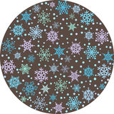 Round backround with snowflakes Royalty Free Stock Images
