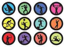 Round Badge for Sports Vector Icon Set Royalty Free Stock Image