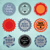 Round badges. Collection of nine round promo badges. EPS10 Stock Photos
