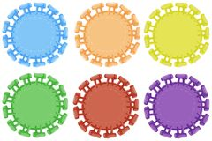 Round badges in six colors. Illustration Royalty Free Stock Images