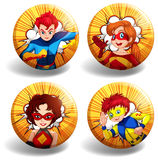 Round badges with superhero Stock Images