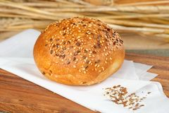 Round baked bread roll soft fresh with a crisp Royalty Free Stock Photos