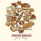 Round bakery background. Color sketch hand drawn vector illustration Royalty Free Stock Image