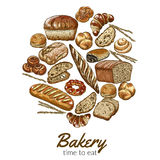 Round bakery background. Full color sketch hand drawn vector illustration Stock Images
