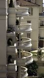 Round balconies. A series of superposed round stone balconies in monaco Stock Photography