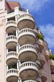 Round balconies in apartment bloc in Monte Carlo, Monaco. Round balconies in an apartment building in Monte Carlo, Monaco Royalty Free Stock Photography