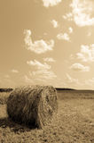 Round bale (hay) on sky background - aged photo Royalty Free Stock Photography
