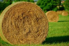 Round bale of hay and straw