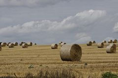 Round baler, straw bale in Lower Saxony, Germany Royalty Free Stock Images