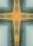 Round bales cross. Kaleidoscope cross from photo of round bales on hill near Schuyler, Nebraska Stock Image