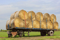 Round bales on a trailer Royalty Free Stock Photography