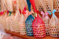 Round bamboo basket. Make from hand made have any color bamboo. It is the gift for any people Stock Image