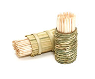 A round bamboo box of toothpicks Royalty Free Stock Image