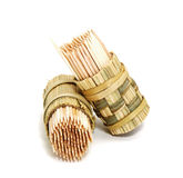 A round bamboo box of toothpicks. Isolated on white background Stock Image
