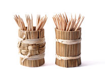 Round bamboo box with toothpicks  on white Royalty Free Stock Photography