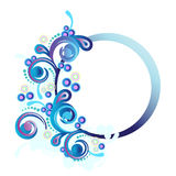Round banner. With  violet and blue circles and decorations elements Royalty Free Stock Photography
