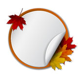 Round banner with autumn leaves Royalty Free Stock Image