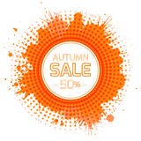 Round banner for the autumn sale with orange splashes Stock Images