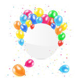 Round banner with balloons. Round banner with colored balloons and confetti on white background, illustration Royalty Free Stock Photo